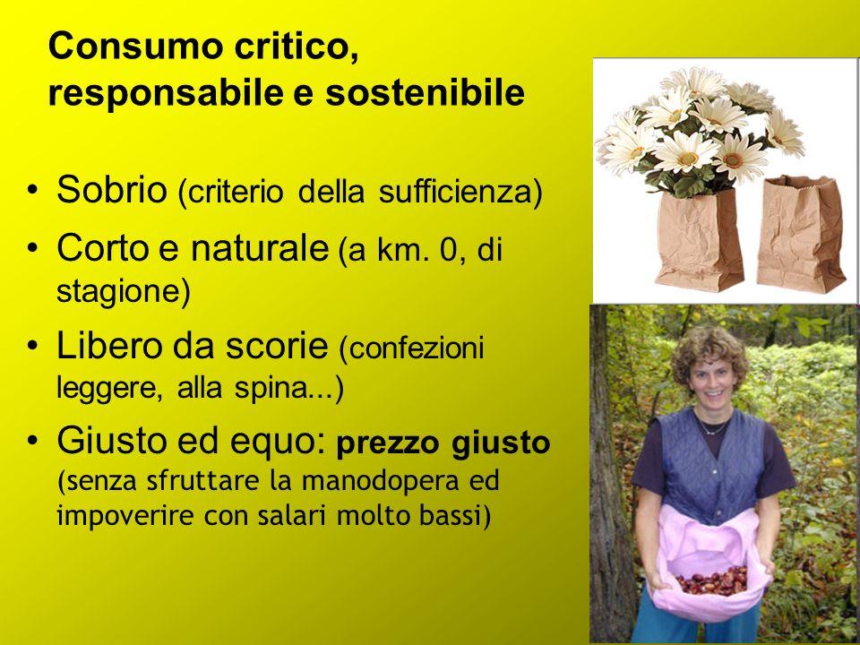 Consumo critico, responsabile e sostenibile Sobrio (criterio della sufficienza) Corto e naturale (a km. 0, di stagione) Libero da scorie (confezioni l