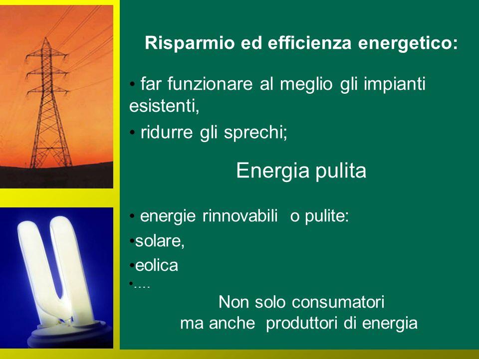 Risparmio ed efficienza energetico: far funzionare al meglio gli impianti esistenti, ridurre gli sprechi; Energia pulita energie rinnovabili o pulite: