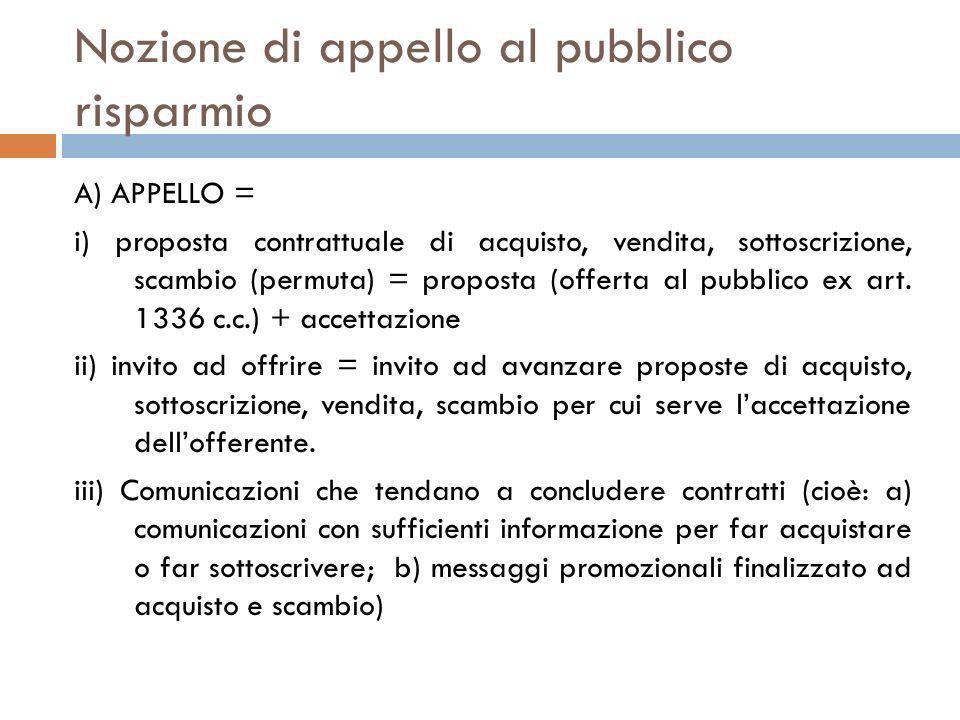 Nozione di appello al pubblico risparmio A) APPELLO = i) proposta contrattuale di acquisto, vendita, sottoscrizione, scambio (permuta) = proposta (off