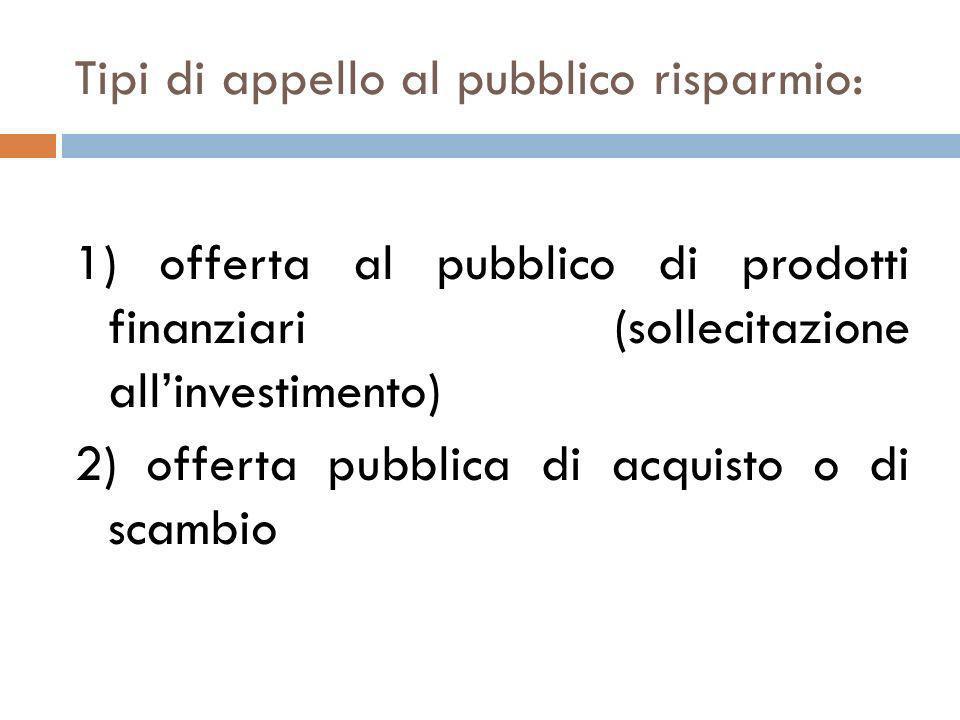 Tipi di appello al pubblico risparmio: 1) offerta al pubblico di prodotti finanziari (sollecitazione allinvestimento) 2) offerta pubblica di acquisto