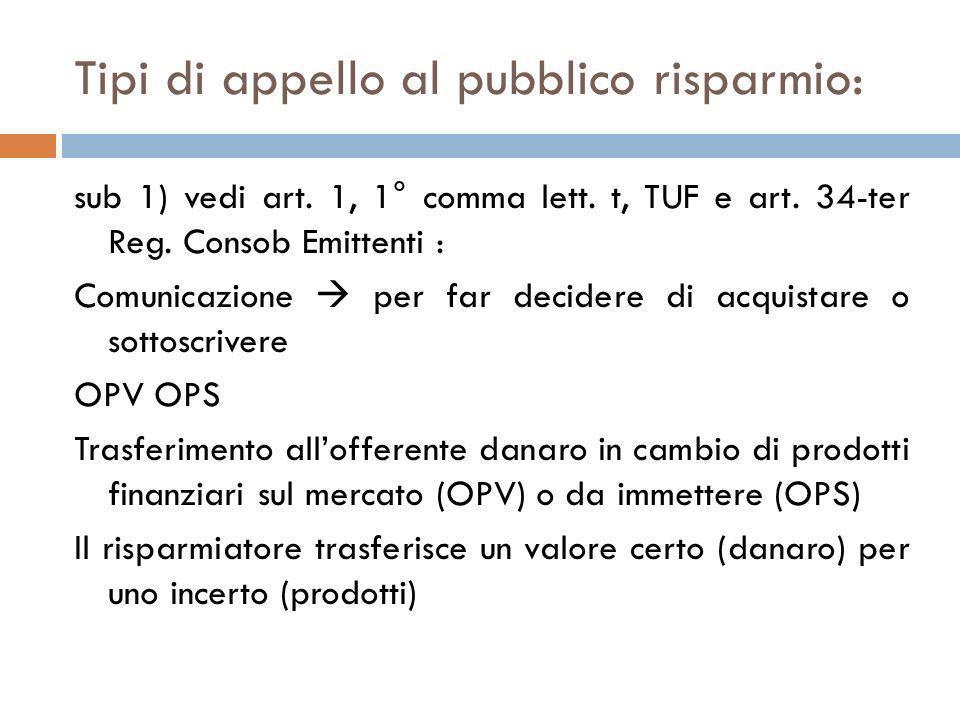Tipi di appello al pubblico risparmio: sub 1) vedi art. 1, 1° comma lett. t, TUF e art. 34-ter Reg. Consob Emittenti : Comunicazione per far decidere