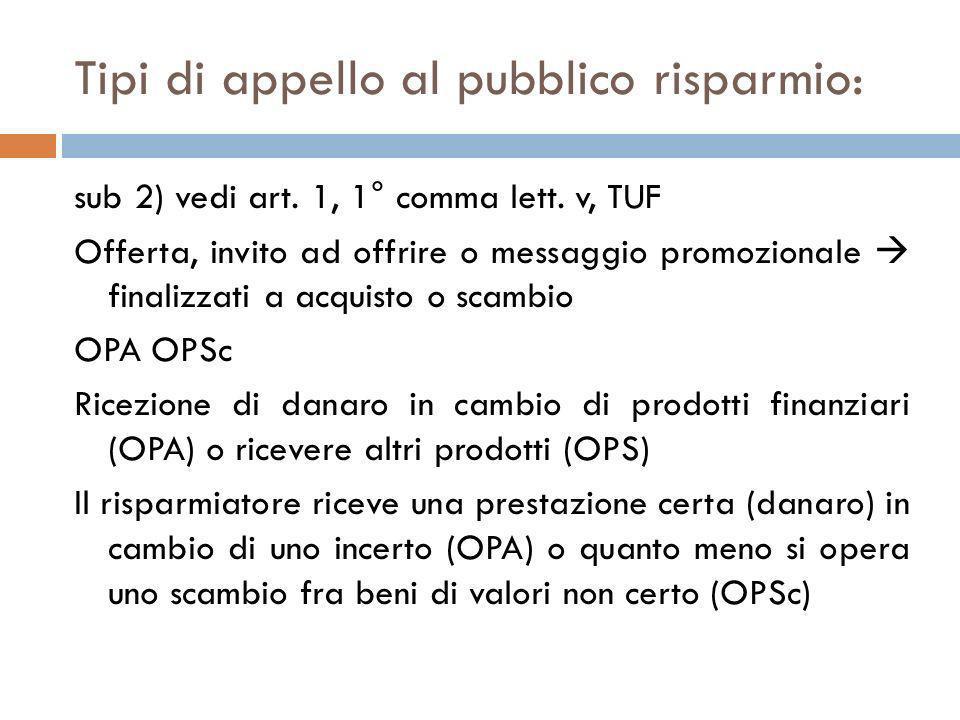 Tipi di appello al pubblico risparmio: sub 2) vedi art. 1, 1° comma lett. v, TUF Offerta, invito ad offrire o messaggio promozionale finalizzati a acq