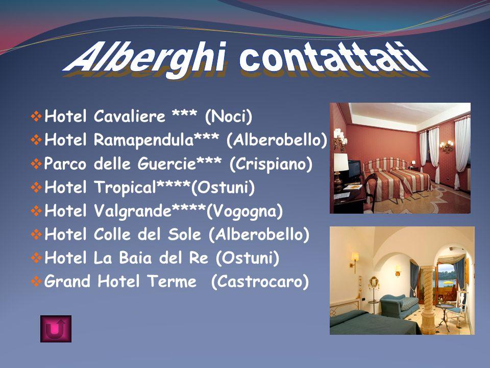 Hotel Cavaliere *** (Noci) Hotel Ramapendula*** (Alberobello) Parco delle Guercie*** (Crispiano) Hotel Tropical****(Ostuni) Hotel Valgrande****(Vogogn