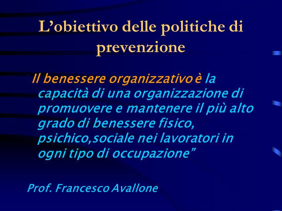 Lobiettivo delle politiche di prevenzione Il benessere organizzativo è la capacità di una organizzazione di promuovere e mantenere il più alto grado d