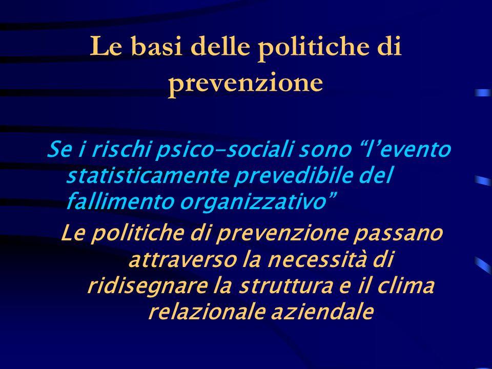 Le basi delle politiche di prevenzione Se i rischi psico-sociali sono levento statisticamente prevedibile del fallimento organizzativo Le politiche di