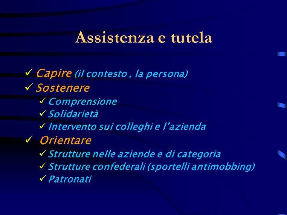 Assistenza e tutela Capire (il contesto, la persona) Sostenere Comprensione Solidarietà Intervento sui colleghi e lazienda Orientare Strutture nelle a