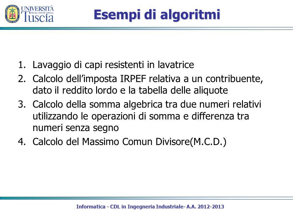 Esempi di algoritmi 1.Lavaggio di capi resistenti in lavatrice 2.Calcolo dellimposta IRPEF relativa a un contribuente, dato il reddito lordo e la tabe