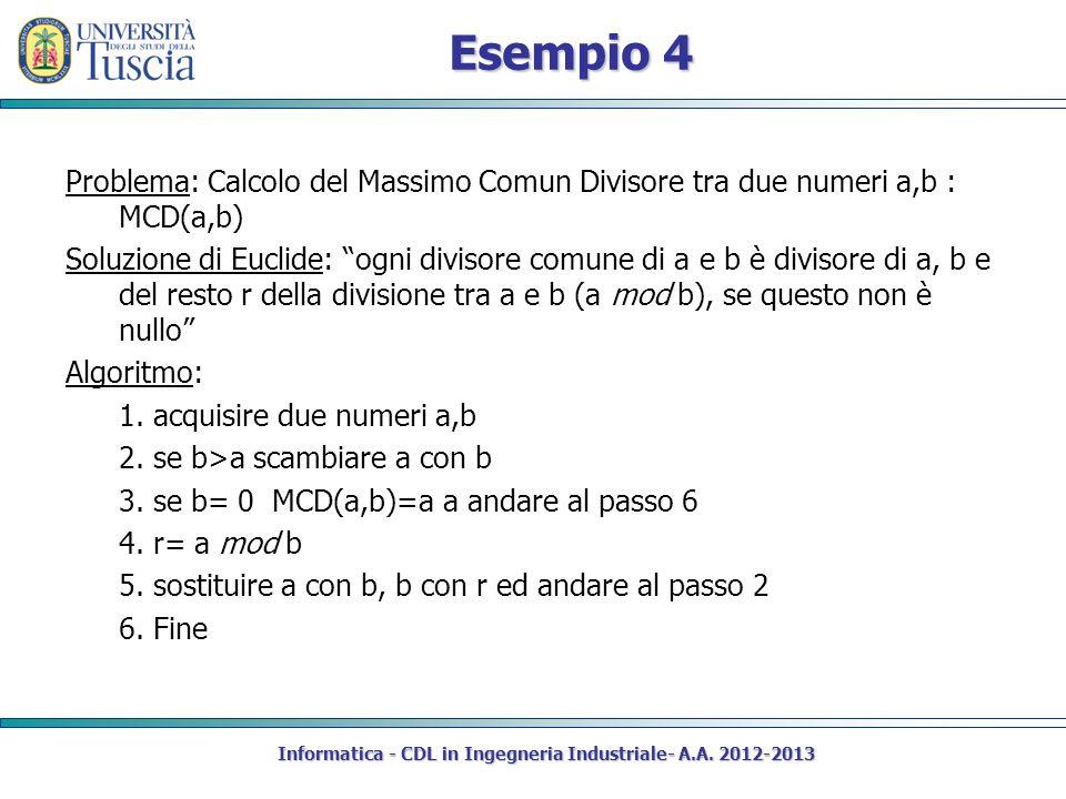 Esempio 4 Problema: Calcolo del Massimo Comun Divisore tra due numeri a,b : MCD(a,b) Soluzione di Euclide: ogni divisore comune di a e b è divisore di a, b e del resto r della divisione tra a e b (a mod b), se questo non è nullo Algoritmo: 1.