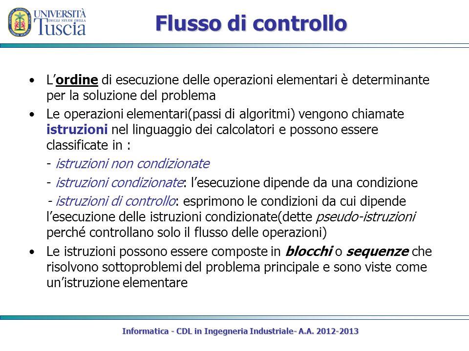 Flusso di controllo Lordine di esecuzione delle operazioni elementari è determinante per la soluzione del problema Le operazioni elementari(passi di algoritmi) vengono chiamate istruzioni nel linguaggio dei calcolatori e possono essere classificate in : - istruzioni non condizionate - istruzioni condizionate: lesecuzione dipende da una condizione - istruzioni di controllo: esprimono le condizioni da cui dipende lesecuzione delle istruzioni condizionate(dette pseudo-istruzioni perché controllano solo il flusso delle operazioni) Le istruzioni possono essere composte in blocchi o sequenze che risolvono sottoproblemi del problema principale e sono viste come unistruzione elementare Informatica - CDL in Ingegneria Industriale- A.A.