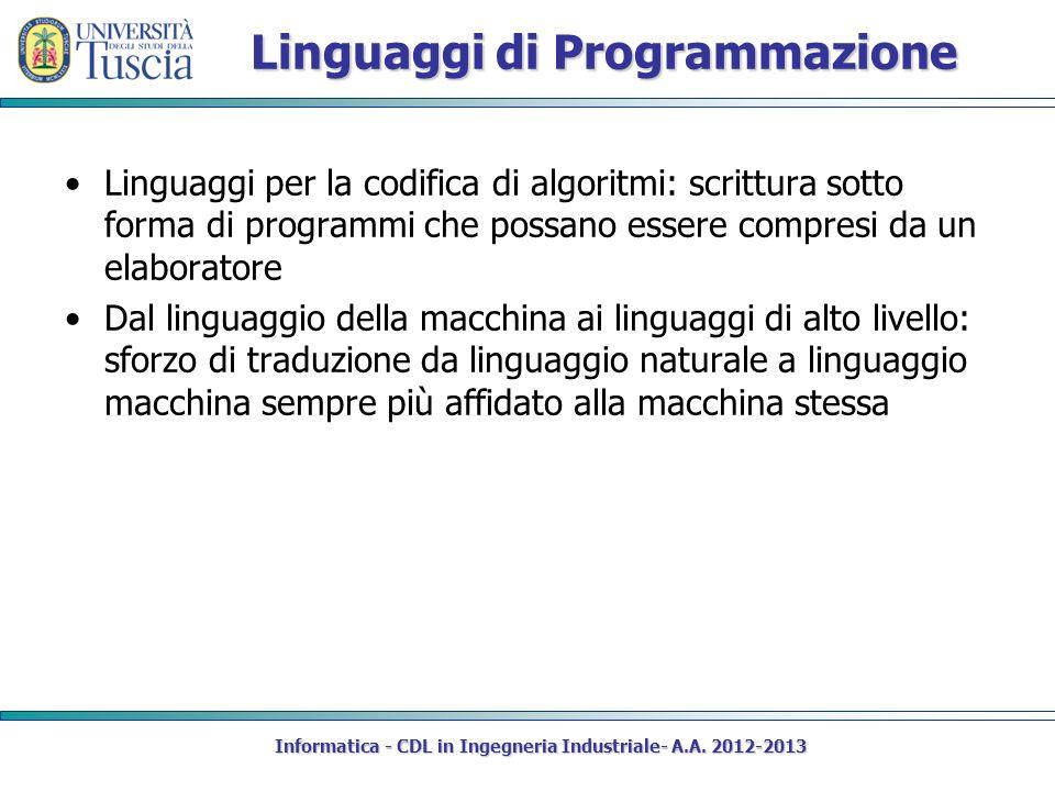 Linguaggi di Programmazione Linguaggi per la codifica di algoritmi: scrittura sotto forma di programmi che possano essere compresi da un elaboratore D