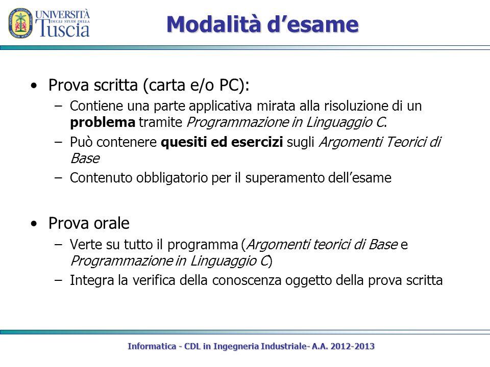 Modalità desame Prova scritta (carta e/o PC): –Contiene una parte applicativa mirata alla risoluzione di un problema tramite Programmazione in Linguaggio C.