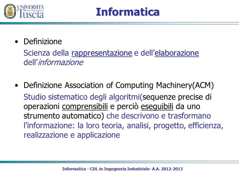 Informatica Definizione rappresentazioneelaborazione Scienza della rappresentazione e dellelaborazione dellinformazione Definizione Association of Com