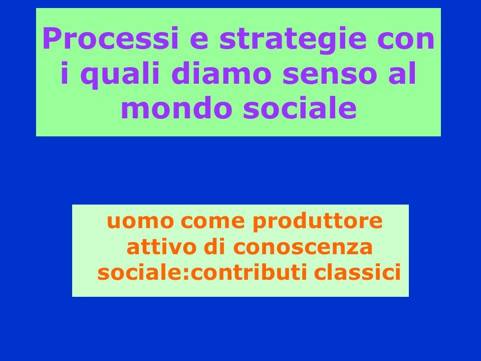 Processi e strategie con i quali diamo senso al mondo sociale uomo come produttore attivo di conoscenza sociale:contributi classici