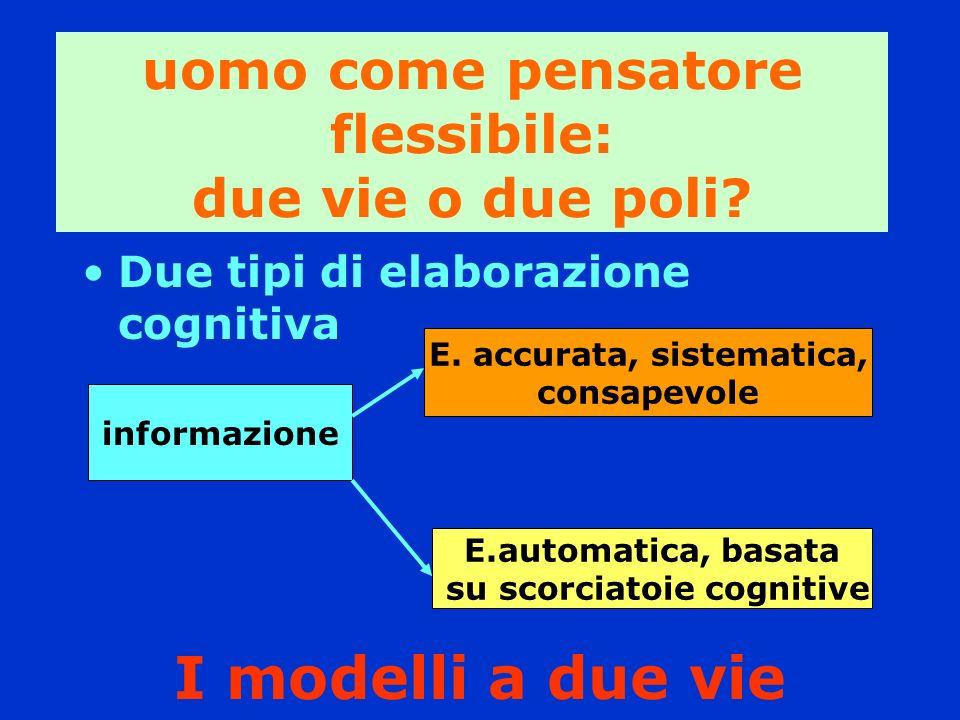 I modelli a due vie Due tipi di elaborazione cognitiva informazione E. accurata, sistematica, consapevole E.automatica, basata su scorciatoie cognitiv