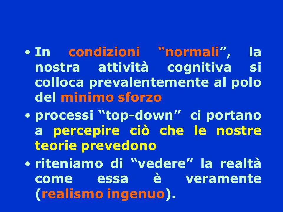 In condizioni normali, la nostra attività cognitiva si colloca prevalentemente al polo del minimo sforzo processi top-down ci portano a percepire ciò