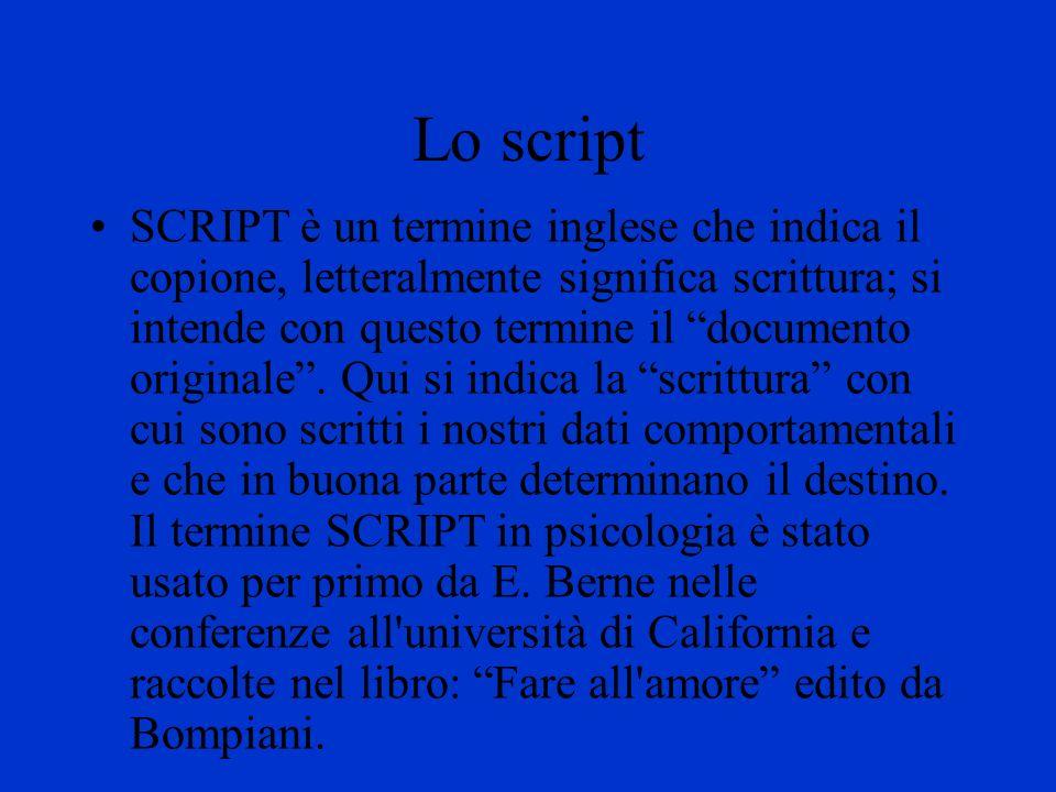 Lo script SCRIPT è un termine inglese che indica il copione, letteralmente significa scrittura; si intende con questo termine il documento originale.