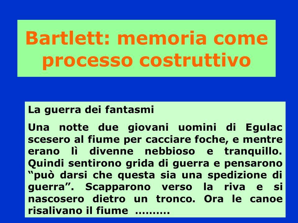 Bartlett: memoria come processo costruttivo La guerra dei fantasmi Una notte due giovani uomini di Egulac scesero al fiume per cacciare foche, e mentr