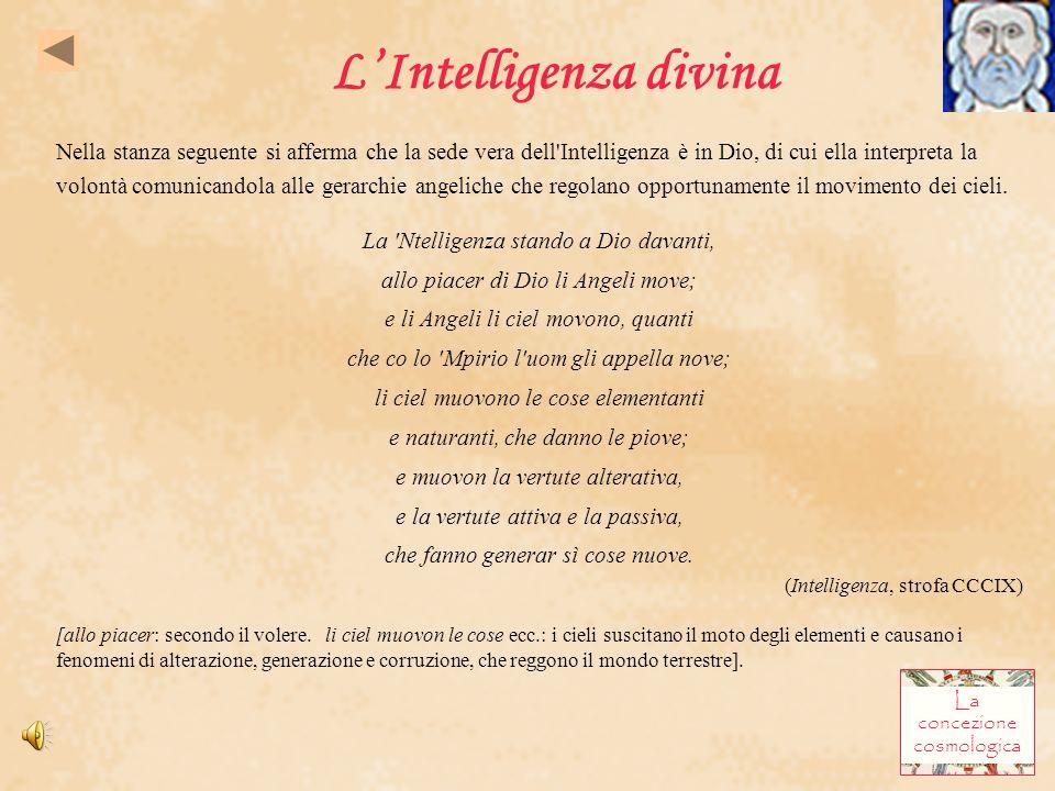 LIntelligenza divina Nella stanza seguente si afferma che la sede vera dell'Intelligenza è in Dio, di cui ella interpreta la volontà comunicandola al