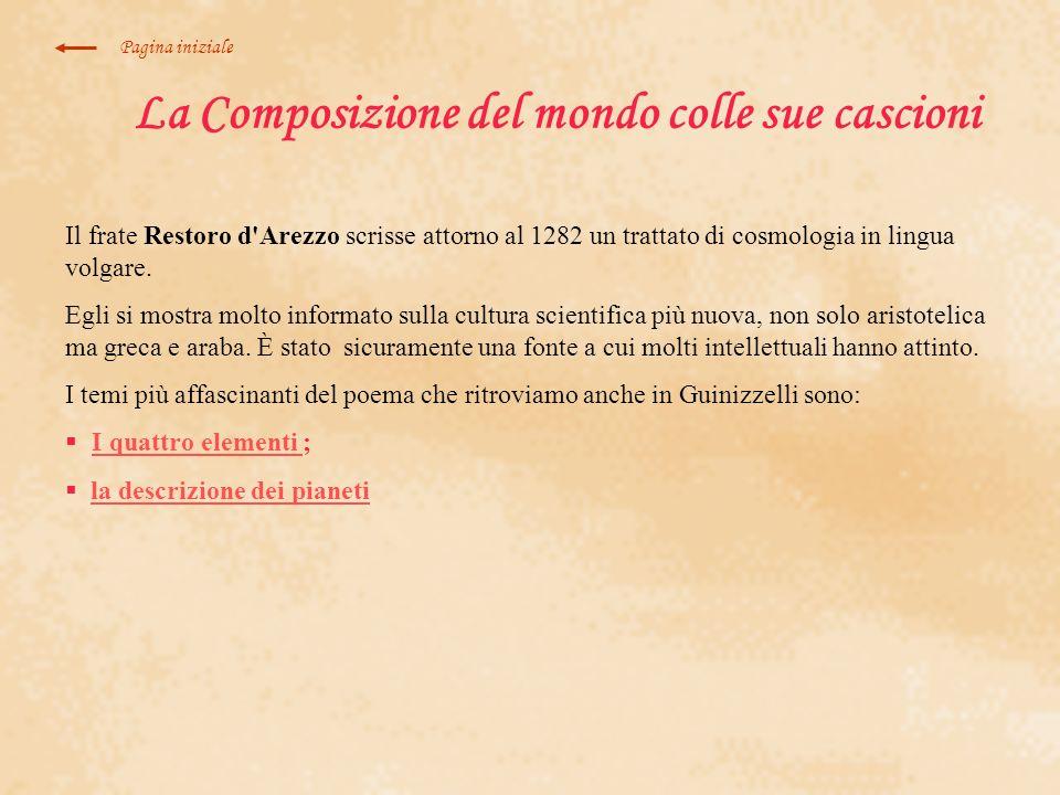 La Composizione del mondo colle sue cascioni Il frate Restoro d'Arezzo scrisse attorno al 1282 un trattato di cosmologia in lingua volgare. Egli si mo