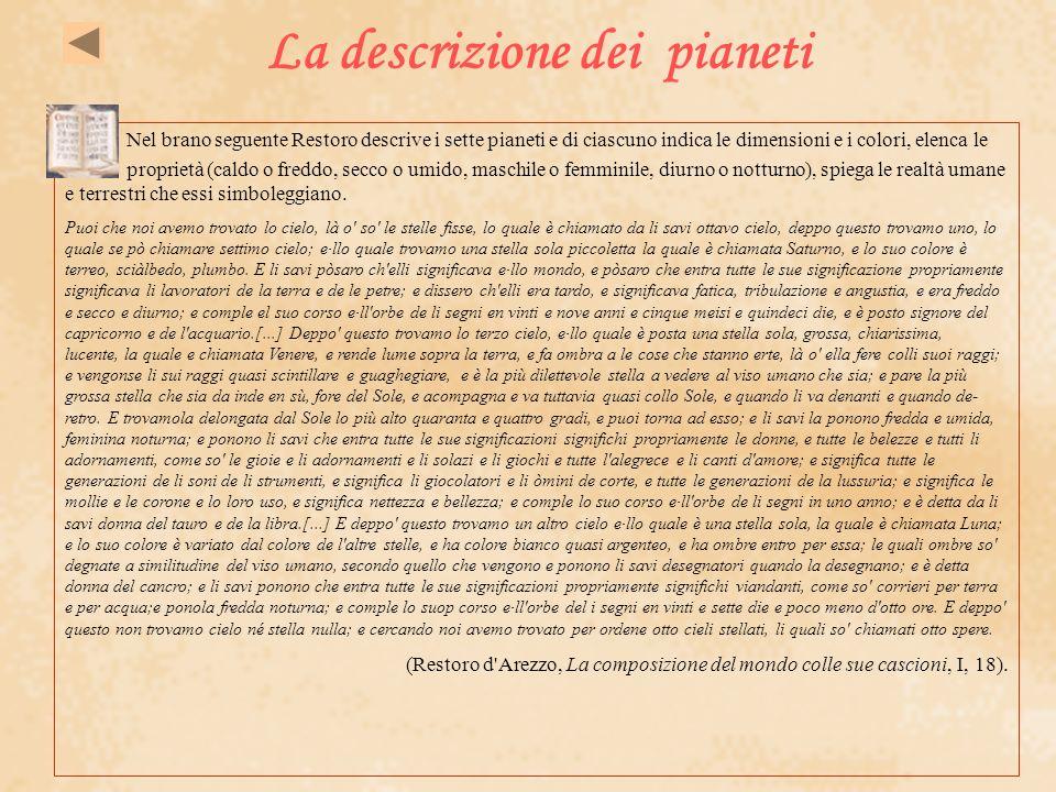 La descrizione dei pianeti Nel brano seguente Restoro descrive i sette pianeti e di ciascuno indica le dimensioni e i colori, elenca le proprietà (cal