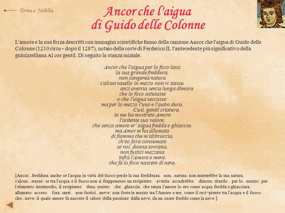 Ancor che l'aigua di Guido delle Colonne L'amore e la sua forza descritti con immagini scientifiche fanno della canzone Ancor che l'aigua di Guido del