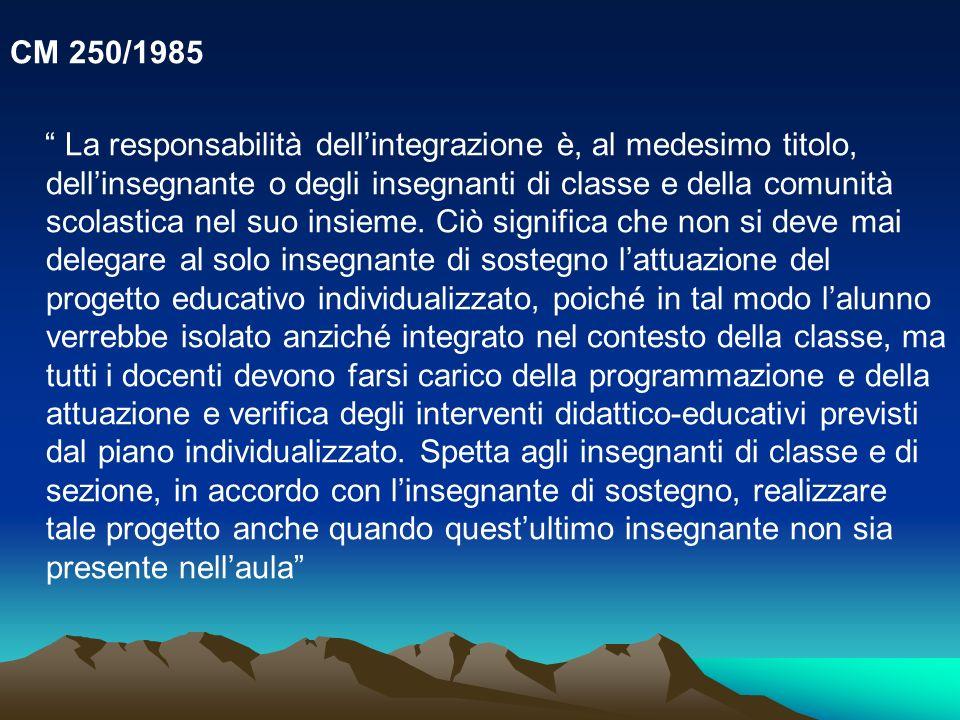 CM 250/1985 La responsabilità dellintegrazione è, al medesimo titolo, dellinsegnante o degli insegnanti di classe e della comunità scolastica nel suo