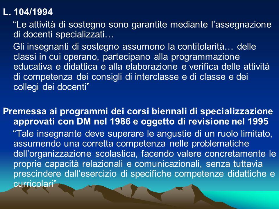L. 104/1994 Le attività di sostegno sono garantite mediante lassegnazione di docenti specializzati… Gli insegnanti di sostegno assumono la contitolari
