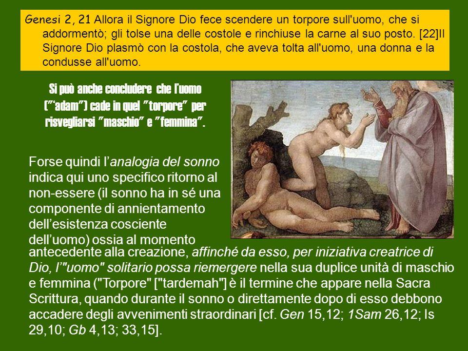 Genesi 2, 21 Allora il Signore Dio fece scendere un torpore sull uomo, che si addormentò; gli tolse una delle costole e rinchiuse la carne al suo posto.