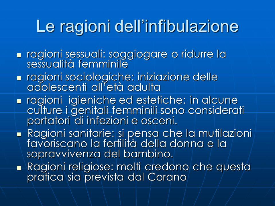 Le ragioni dellinfibulazione ragioni sessuali: soggiogare o ridurre la sessualità femminile ragioni sessuali: soggiogare o ridurre la sessualità femmi