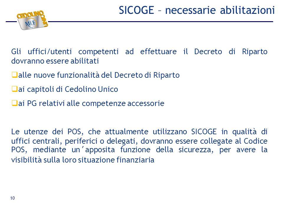 10 SICOGE – necessarie abilitazioni Gli uffici/utenti competenti ad effettuare il Decreto di Riparto dovranno essere abilitati alle nuove funzionalità