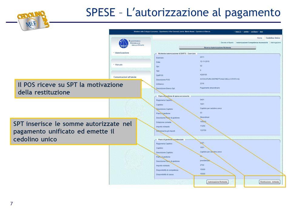7 SPESE – Lautorizzazione al pagamento Il POS riceve su SPT la motivazione della restituzione SPT inserisce le somme autorizzate nel pagamento unifica