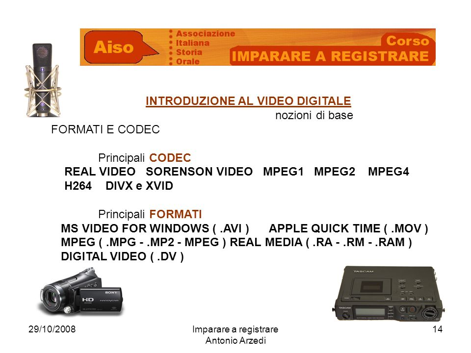 29/10/2008Imparare a registrare Antonio Arzedi 14 INTRODUZIONE AL VIDEO DIGITALE nozioni di base FORMATI E CODEC Principali CODEC REAL VIDEO SORENSON