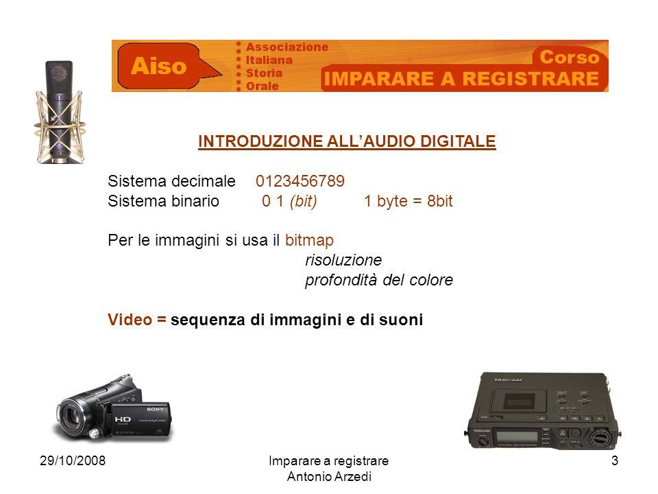 29/10/2008Imparare a registrare Antonio Arzedi 3 INTRODUZIONE ALLAUDIO DIGITALE Sistema decimale 0123456789 Sistema binario 0 1 (bit) 1 byte = 8bit Per le immagini si usa il bitmap risoluzione profondità del colore Video = sequenza di immagini e di suoni
