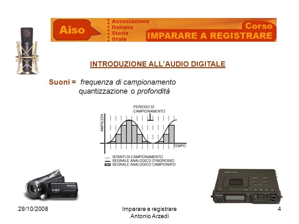 29/10/2008Imparare a registrare Antonio Arzedi 4 INTRODUZIONE ALLAUDIO DIGITALE Suoni = frequenza di campionamento quantizzazione o profondità