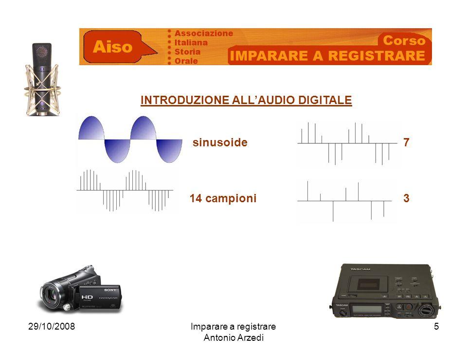 29/10/2008Imparare a registrare Antonio Arzedi 5 INTRODUZIONE ALLAUDIO DIGITALE sinusoide7 14 campioni3