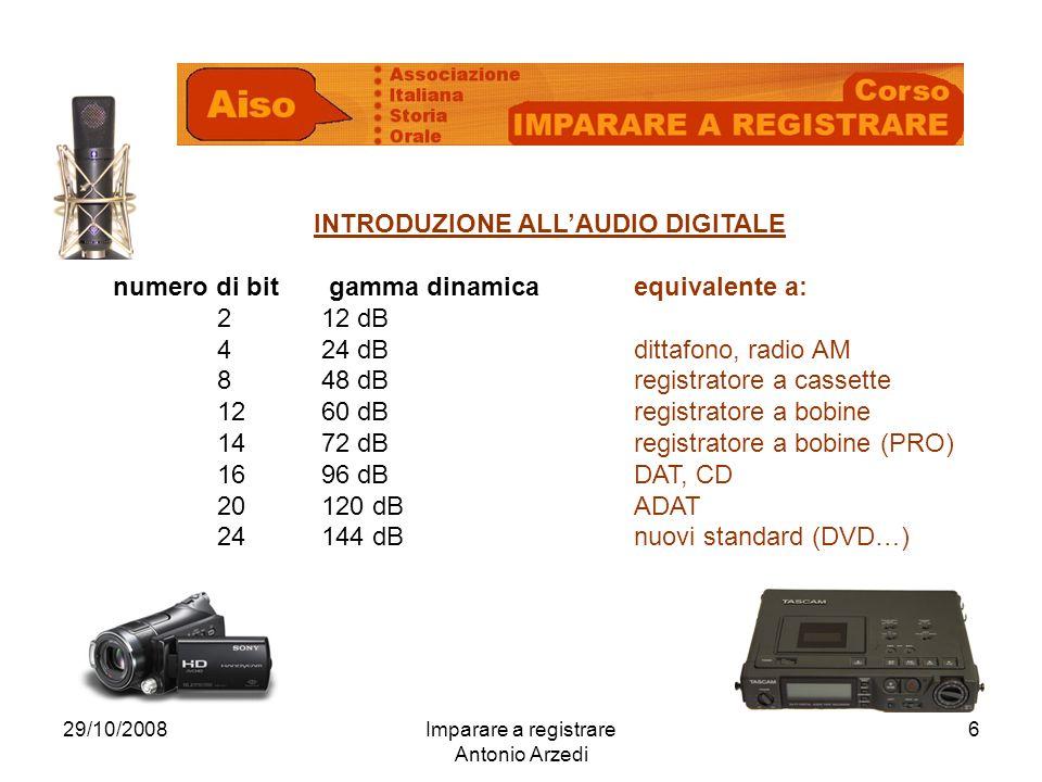 29/10/2008Imparare a registrare Antonio Arzedi 6 INTRODUZIONE ALLAUDIO DIGITALE numero di bit gamma dinamicaequivalente a: 212 dB 424 dBdittafono, radio AM 8 48 dBregistratore a cassette 1260 dBregistratore a bobine 1472 dBregistratore a bobine (PRO) 1696 dBDAT, CD 20120 dBADAT 24144 dBnuovi standard (DVD…)