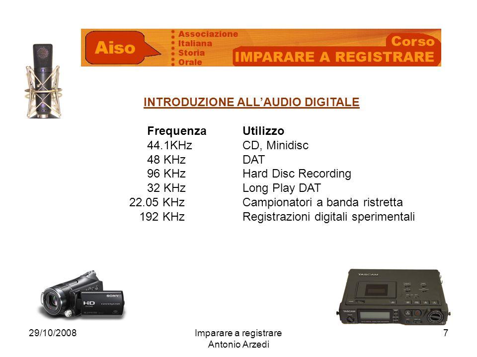 29/10/2008Imparare a registrare Antonio Arzedi 7 INTRODUZIONE ALLAUDIO DIGITALE FrequenzaUtilizzo 44.1KHzCD, Minidisc 48 KHzDAT 96 KHzHard Disc Recording 32 KHzLong Play DAT 22.05 KHzCampionatori a banda ristretta 192 KHzRegistrazioni digitali sperimentali