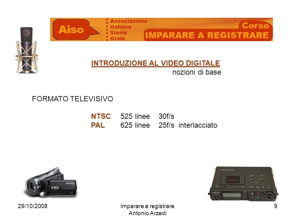 29/10/2008Imparare a registrare Antonio Arzedi 9 INTRODUZIONE AL VIDEO DIGITALE nozioni di base FORMATO TELEVISIVO NTSC525 linee 30f/s PAL625 linee 25f/s interlacciato