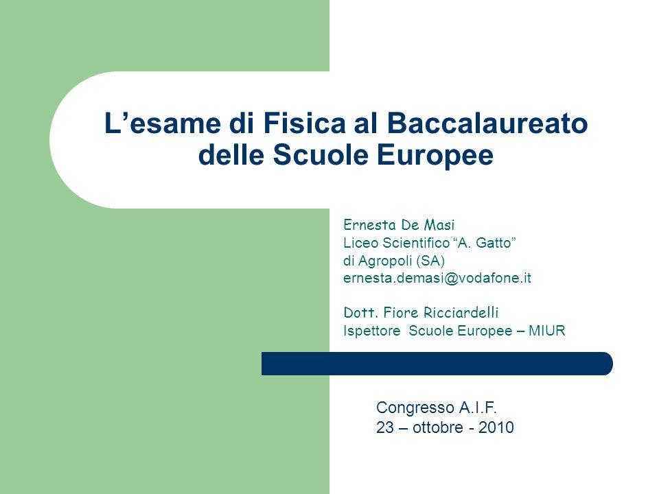 Lesame di Fisica al Baccalaureato delle Scuole Europee Ernesta De Masi Liceo Scientifico A. Gatto di Agropoli (SA) ernesta.demasi@vodafone.it Dott. Fi