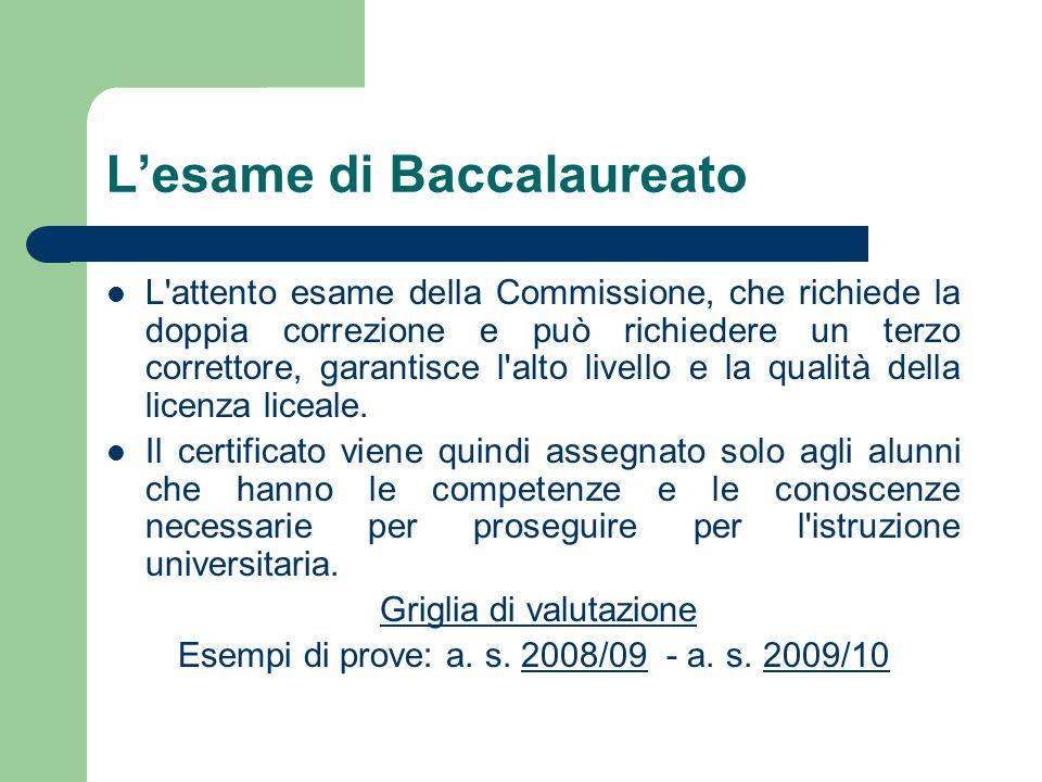 Lesame di Baccalaureato L'attento esame della Commissione, che richiede la doppia correzione e può richiedere un terzo correttore, garantisce l'alto l