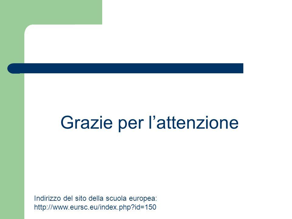 Grazie per lattenzione Indirizzo del sito della scuola europea: http://www.eursc.eu/index.php?id=150