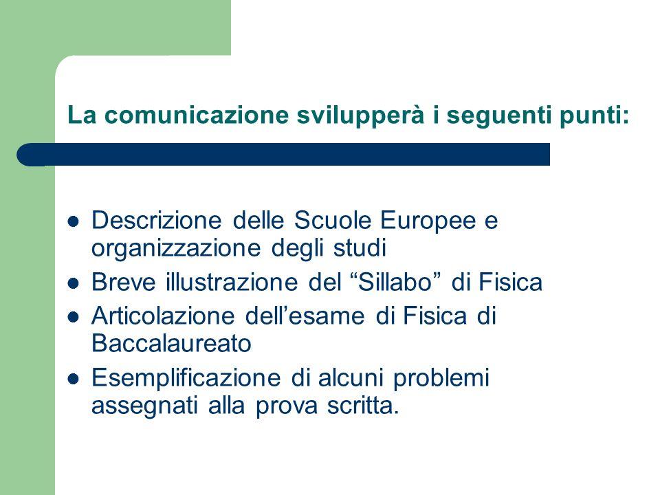 La comunicazione svilupperà i seguenti punti: Descrizione delle Scuole Europee e organizzazione degli studi Breve illustrazione del Sillabo di Fisica