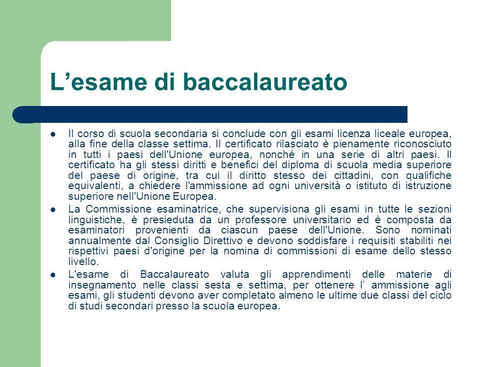 Lesame di baccalaureato Il corso di scuola secondaria si conclude con gli esami licenza liceale europea, alla fine della classe settima. Il certificat