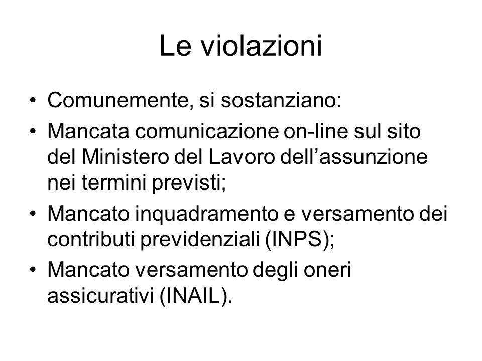 Le violazioni Comunemente, si sostanziano: Mancata comunicazione on-line sul sito del Ministero del Lavoro dellassunzione nei termini previsti; Mancat
