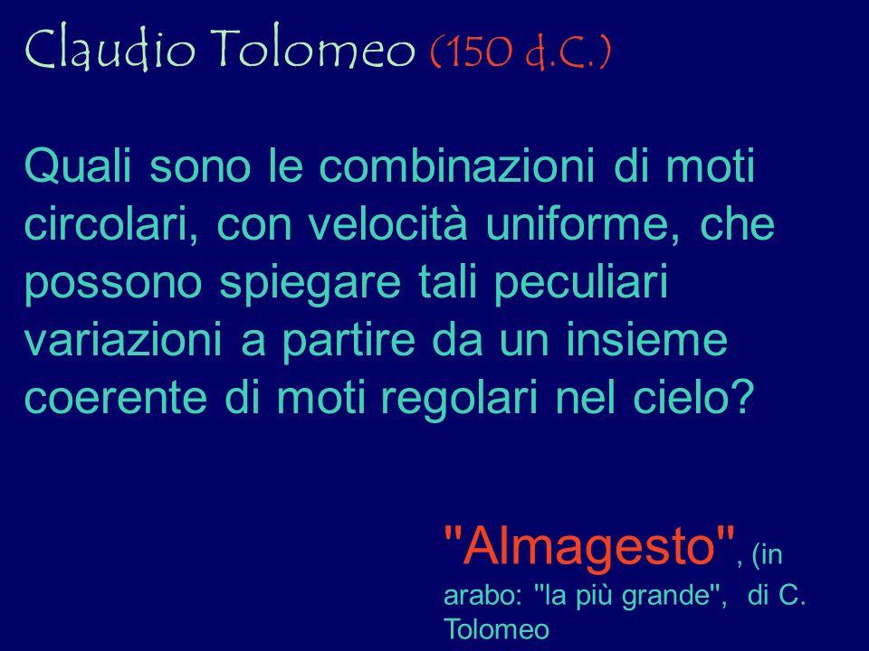 Claudio Tolomeo (150 d.C.) Quali sono le combinazioni di moti circolari, con velocità uniforme, che possono spiegare tali peculiari variazioni a parti