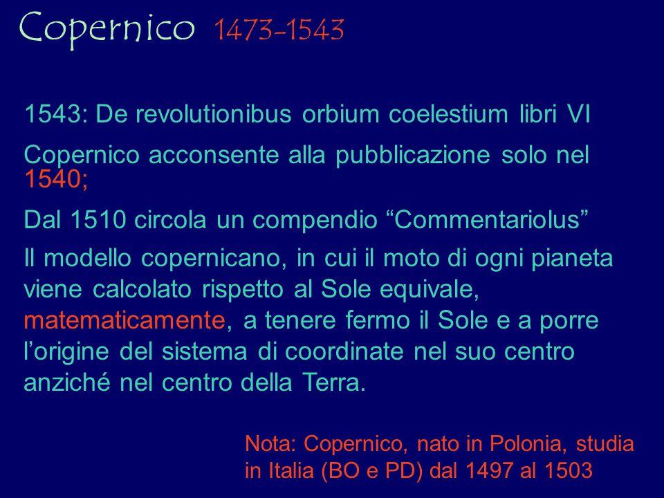 Copernico 1473-1543 Il modello copernicano, in cui il moto di ogni pianeta viene calcolato rispetto al Sole equivale, matematicamente, a tenere fermo