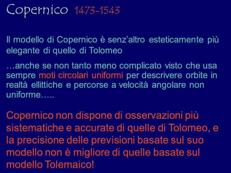 Copernico 1473-1543 Il modello di Copernico è senzaltro esteticamente più elegante di quello di Tolomeo …anche se non tanto meno complicato visto che