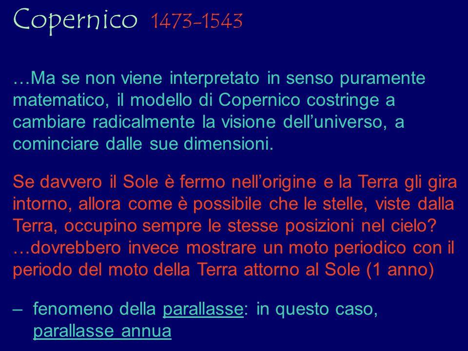 Copernico 1473-1543 …Ma se non viene interpretato in senso puramente matematico, il modello di Copernico costringe a cambiare radicalmente la visione