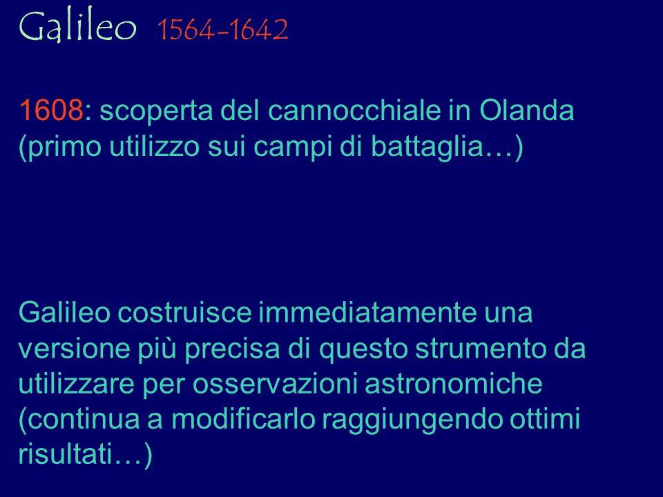 Galileo 1564-1642 1608: scoperta del cannocchiale in Olanda (primo utilizzo sui campi di battaglia…) Galileo costruisce immediatamente una versione pi