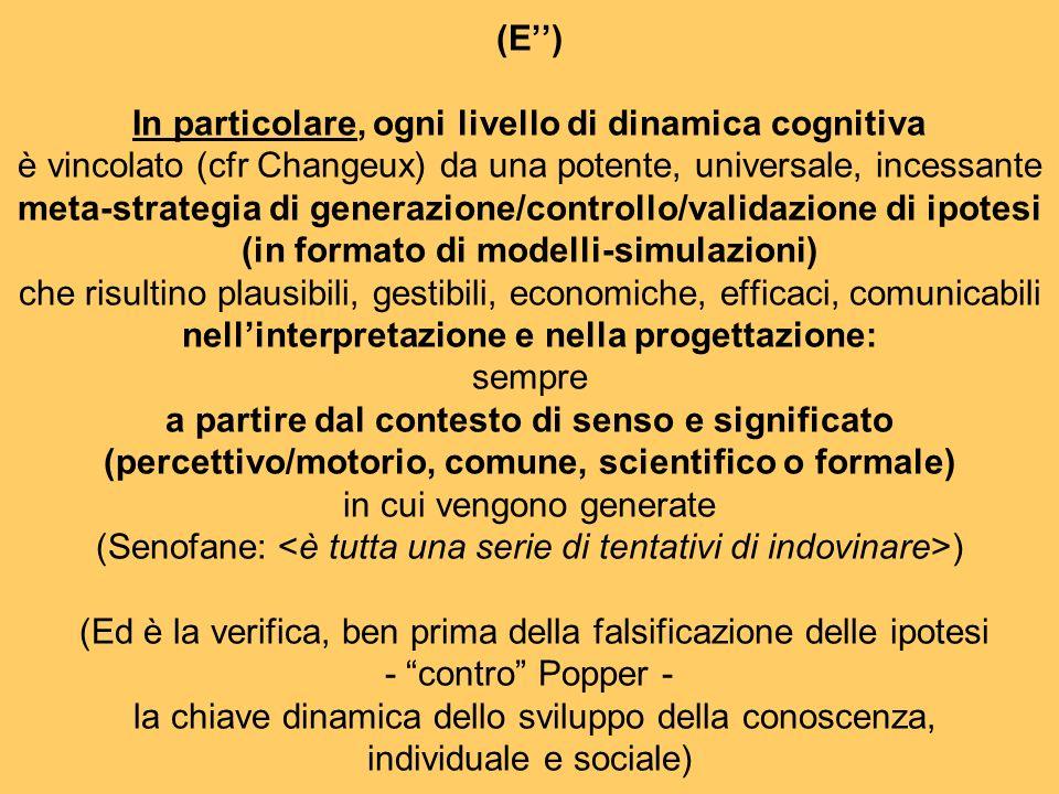 (E) In particolare, ogni livello di dinamica cognitiva è vincolato (cfr Changeux) da una potente, universale, incessante meta-strategia di generazione/controllo/validazione di ipotesi (in formato di modelli-simulazioni) che risultino plausibili, gestibili, economiche, efficaci, comunicabili nellinterpretazione e nella progettazione: sempre a partire dal contesto di senso e significato (percettivo/motorio, comune, scientifico o formale) in cui vengono generate (Senofane: ) (Ed è la verifica, ben prima della falsificazione delle ipotesi - contro Popper - la chiave dinamica dello sviluppo della conoscenza, individuale e sociale)
